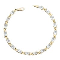 14k Yellow Gold Natural Aquamarine Flower Bracelet 7 1/4 inch