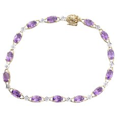 10k Yellow Gold Natural Amethyst and Diamond Bracelet 7 inch