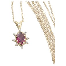 14k Yellow Gold Natural Rubellite Pink Tourmaline and Diamond Necklace with 18 inch chain