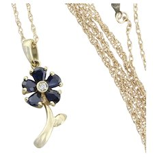 14k Yellow Gold Natural Blue Sapphire and Diamond Necklace Flower Necklace 18 inch Chain