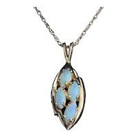 14k Yellow Gold Natural Opal Necklace 18 inch chain