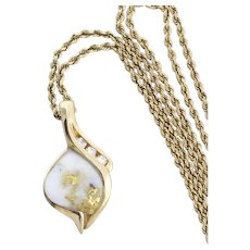 """14k Yellow Gold Quartz with Gold Nugget Vein and Diamond Necklace 20"""" inch chain"""