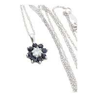 14K White Gold Natural Blue Sapphire and Diamond Flower Necklace 18 inch Chain