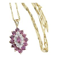 14k Yellow Gold Natural Ruby and Diamond Necklace 16 inch Twist chain