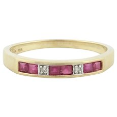 10k Yellow Gold Natural Ruby and Diamond Band Ring Size 6 3/4