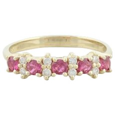 14k Yellow Gold Natural Ruby and Diamond Band Ring Size 6 3/4