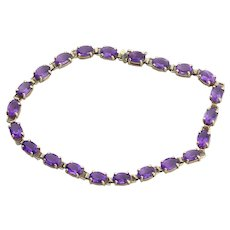 10k Yellow Gold Natural Amethyst Tennis Bracelet size 7 1/4