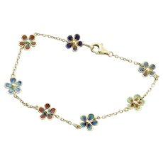 14k Yellow Gold Blue, Pink, Green, Purple, Yellow Enamel Flower Bracelet 6 1/2 inch