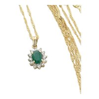 14k Yellow Gold Natural Emerald and Diamond Necklace 18 inch chain