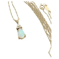 14k Yellow Gold Natural Opal and Diamond Necklace 16 inch chain