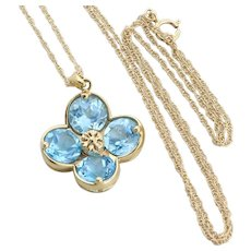 14k Yellow Gold Natural Blue Topaz Flower Necklace 18 inch chain