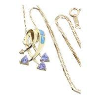 10k Yellow Gold Natural Tanzanite Inlaid Black Opal and Diamond Necklace 18.75 inch Box chain