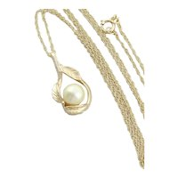14k Yellow Gold Freshwater Pearl Necklace with Leaf Design 20 inch Chain