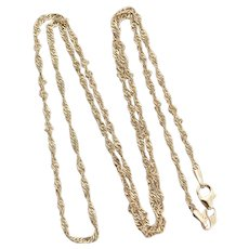 14k Yellow Gold Twist Chain Necklace Long 24 inch chain