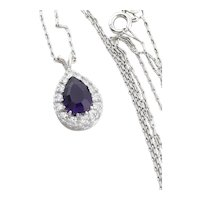 "14k White Gold Natural Purple Amethyst and Diamond Necklace 18"" inch Chain"
