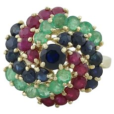 14k Yellow Gold Natural Ruby, Sapphire, Emerald Ring size 6 1/4