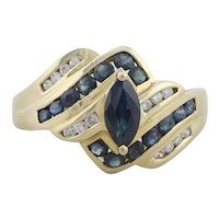 10k Yellow Gold Natural Blue Sapphire and Diamond Band Ring Size 6 1/2