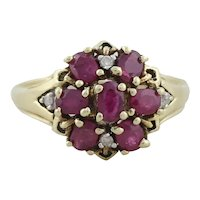 10k Yellow Gold Natural Ruby and Diamond Ring Size 9 1/4