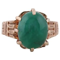 10k Yellow Gold Natural Green Emerald Ring Size 7 1/4 Antique Victorian 1900s