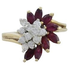14k Yellow Gold Natural Ruby and Diamond Ring Size 6 3/4