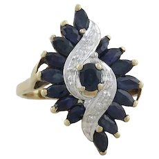 10k Yellow Gold Natural Blue Sapphire and Diamond Ring Size 7 1/2