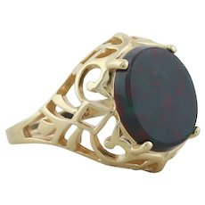 14k Yellow Gold Natural Bloodstone Ring size 6