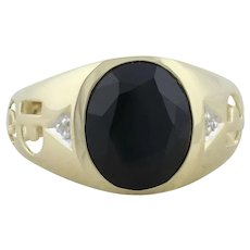 Mens 10k Yellow Gold Natural Onyx and Diamond Dad Ring Size 10 1/2