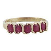 10k Yellow Gold Natural Ruby Band Ring Size 7 1/2