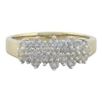 10k Yellow Gold Diamond Cluster Flower Ring Size 8 1/2
