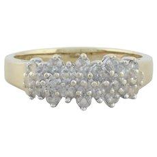 10k Yellow Gold Diamond Cluster Flower Ring Size 8 1/2