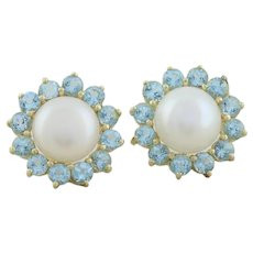 14k Yellow Gold Natural Pearl and Blue Topaz Earrings Stud Post Earrings
