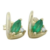 14k Yellow Gold Natural Green Emerald and Diamond Earrings Stud Post Earrings