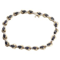 10k Yellow Gold Natural Blue Sapphire and Diamond Bracelet Tennis Bracelet 7 1/2 inch
