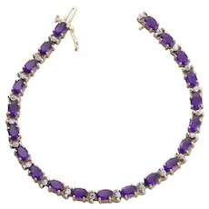 10k Yellow Gold Natural Amethyst and Diamond Tennis Bracelet 7 1/4 inch