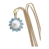 14k Yellow Gold Natural Pearl and Blue Topaz Flower Enhancer Pendant with 17.5 inch chain Necklace