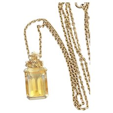 14k Yellow Gold Natural Citrine Pendant with 10k Yellow Gold 20 inch Chain Necklace
