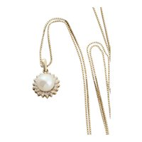 10k Yellow Gold Freshwater Pearl and Diamond Necklace 18 1/2 inch Box Chain