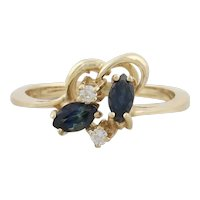 14k Yellow Gold Natural Blue Sapphire and Diamond Ring Size 5 3/4