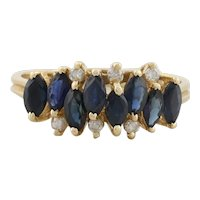 14k Yellow Gold Natural Blue Sapphire and Diamond Ring Size  8 1/2