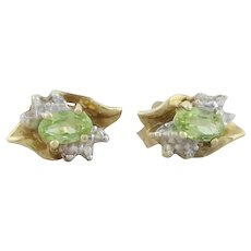 10k Yellow Gold Green Peridot with White Gold and 2 Diamond Accents Earrings Stud Post Earrings