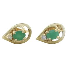 14k Yellow Gold Natural Green Emerald and Diamond Earrings Stud Post Earrings