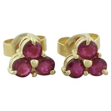 14k Yellow Gold Natural Ruby Earrings Stud Post Earrings