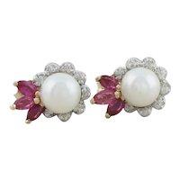 10k Yellow Gold Freshwater Pearl, Ruby and Diamond Earrings Stud Post Earrings