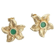 14k Yellow Gold Natural Emerald Starfish Earrings Stud Post Earrings