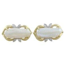 14k Yellow Gold Keshi Pearl and Diamond Earrings Lever Back Earrings