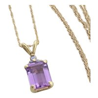 "10k Yellow Gold Natural Purple Amethyst and Tanzanite Necklace 18"" inch Chain"