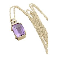 "10k Yellow Gold Natural Purple Amethyst and Diamond Necklace 18"" inch Chain"