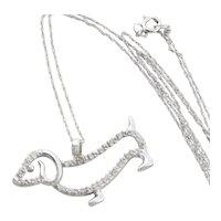 """10k White Gold Dashhound Diamond Necklace 18"""" inch Chain"""