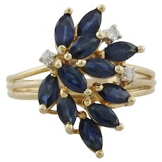 14k Yellow Gold Natural Blue Sapphire and Diamond Ring Size 7 1/2