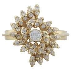 14k Yellow Gold Diamond Swirl Ring Size 6 3/4